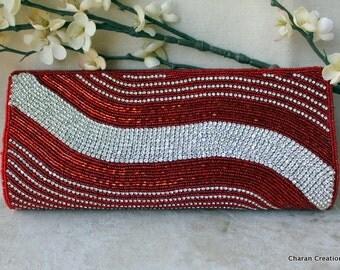 HALF PRICE SALE Elegant Embellished Maroon Seed Beads & Crystals Formal Clutch Bag
