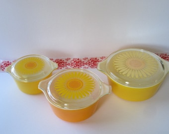 "Pyrex ""3"" Piece "" Sunflower "" Cinderella Casserole Bowls with Lids."