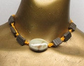 Sale Golden Yellow hemp choker necklace with green ceramic and brown marble stone beads. Long ties in back. HCK-008