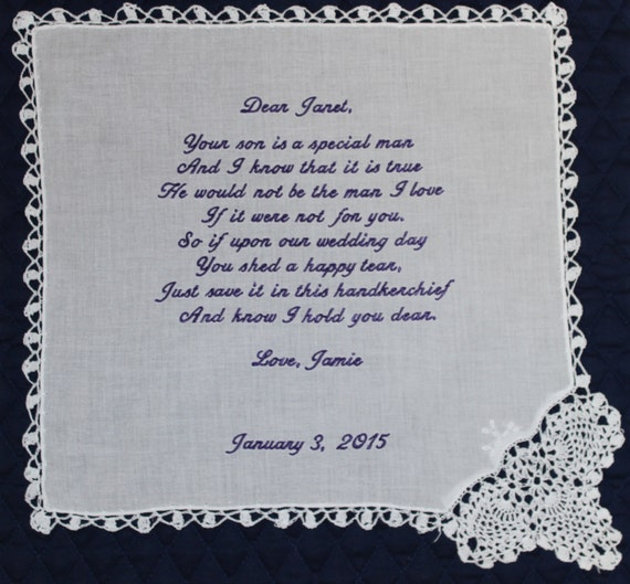 Mother of the Groom Handkerchief from Bride White with Wedding date and Crochet Border