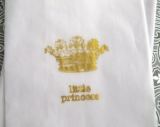 White Glassine Gift Bags, Little Princess, Gold Crown, Fairytale, Royal Baby Shower, Gift Bags,  Favor Bags set of 10