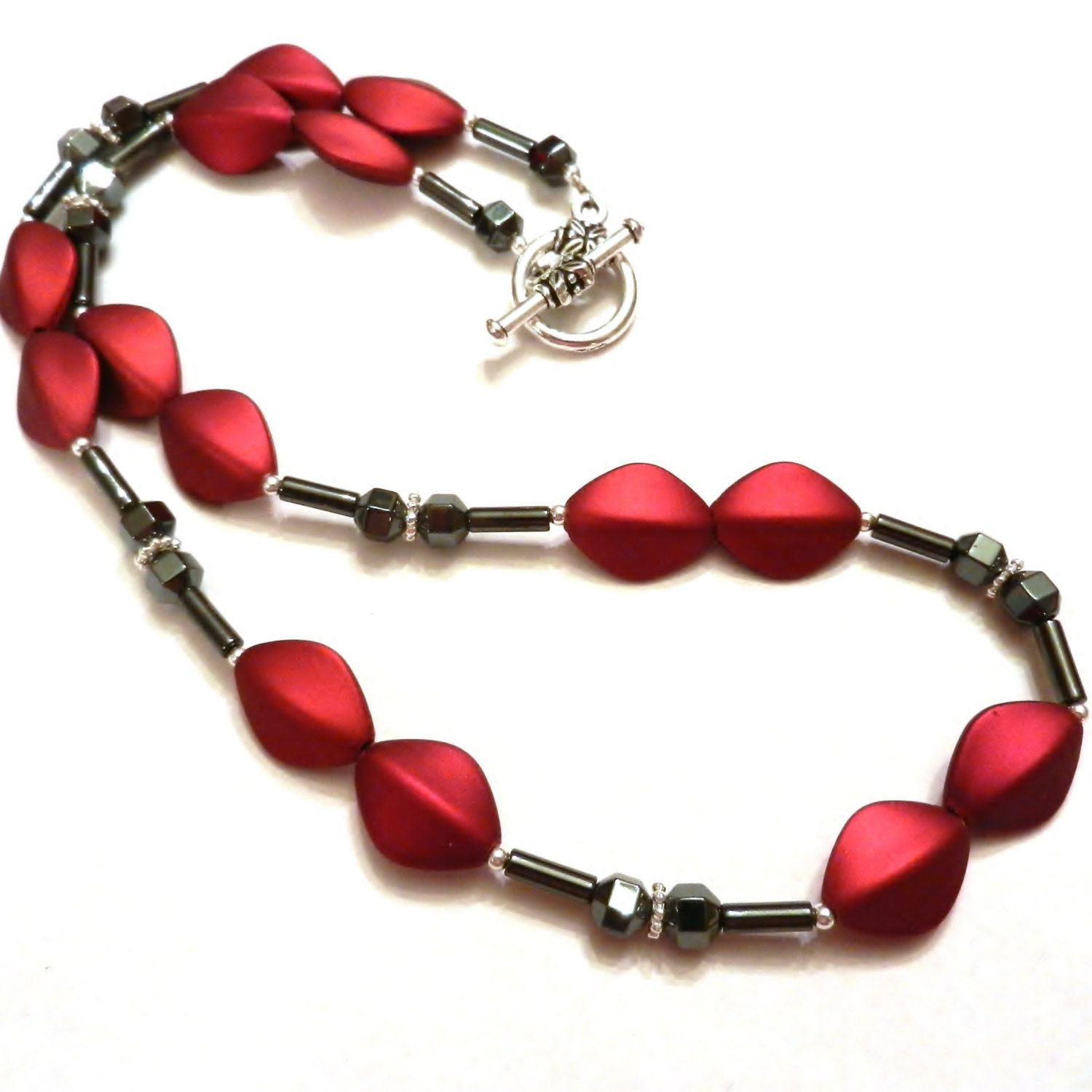 Red Hematite Beads Red Necklace Wi...