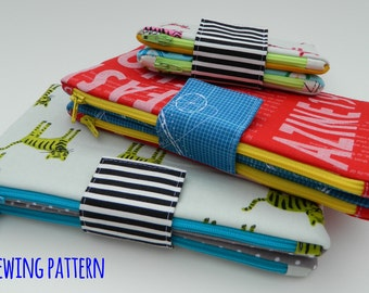 Two in One Zipper Pouch {PDF sewing pattern}, instant download, two sizes, sew, coin pouch, pencil pouch, clutch, wallet, sotak patterns