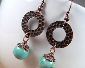 Copper Howlite Turquoise Hammered Ring Dangle Earrings