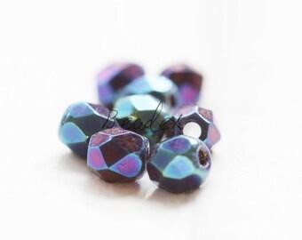 50 Pieces / Czech Fire Polish / Glass / Faceted Round / Iris Blue (21435//M402)