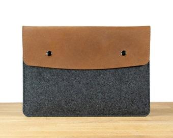 "13"" MacBook Air Sleeve Case - Black Wool Felt with Brown Leather"