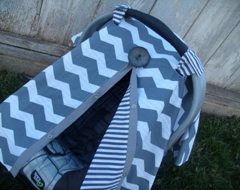 Carseat Canopy carseat cover infant carseat cover nursing cover Grey Chevron Grey Stripe REVERSIBLE