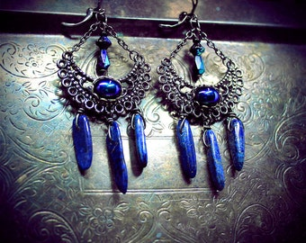 Lapis Lazuli chandelier earrings, genuine gemstone beads, tribal fusion, boho, bohemian earrings, gypsy, wicca earrings, pagan jewelry, fae