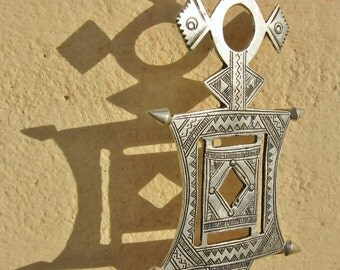 Large Tuareg Silver Jewelry, Big Solid Compass Cross, Niger, Boho, Bellydance Silver Jewelry