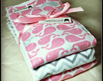 Pink and Grey Whale and Chevron themed flannnel burp cloth trio