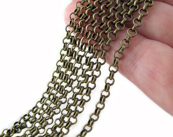 Bronze Chain : Antique Bronze Rolo Chain / Brass Ox Cross Chain - 3.2mm x 1mm ... SOLD PER 16 FEET ... Lead, Nickel & Cadmium Free 74557