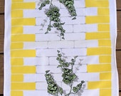 1960s vintage Yellow Linen Ivy on a brick wall tea towel