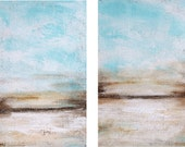 wall Art Painting  original Abstract Painting,brown, blue white turquoise landscape   Home Decor  jolina anthony Gift Idea Office decor