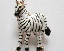 Vintage Black & White Zebra Brooch / 1980s Zoo Animal Pin