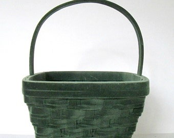 Green Flocked Wooden Easter Basket