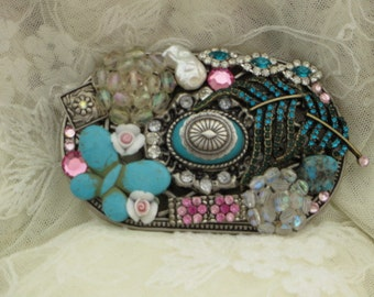 Gypsy Cowgirl - Handmade JEWELED Boho BELT BUCKLE - Turquoise and Vintage Glam