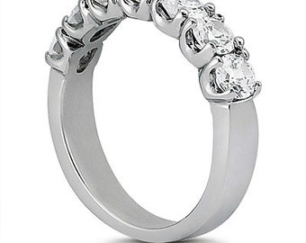 7 stones ~ 3/4 ct  Round  Moissanite  Solid  14k white gold Half eternity wedding Band Ring WB052