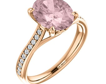Natural AAA 10x8mm Oval  pink Oval Morganite  Solid 14K white Gold Diamond Engagement Ring Set-ST82823