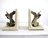 Ceramic Bookends - Bird Book Ends - Men's Decor - Hunting Lodge Chic