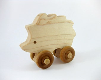 Wooden Hedgehog Push Toy, natural wood toy