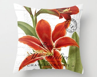 Throw Pillow Cover - Amaryllis on Vintage French Ephemera - 16x16, 18x18, 20x20 - Pillow case Original Design Home Décor by Adidit