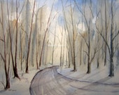 Print Of Original Watercolor Landscape Painting,watercolor art, country road art forest painting tree art winter painting,winter watercolor
