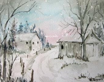 Winter Snow, watercolor print watercolor art winter landscape, winter painting, landscape painting.