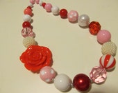 Red, Pink, and White Bubblegum Necklace