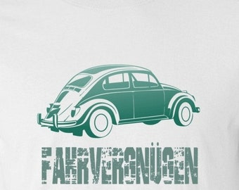 VW Beetle T Shirt  in Blue/Green and distressed letters S,M,L,XL White or Ash Grey