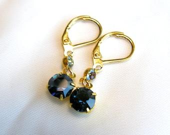 Sapphire Blue Swarovski Crystal Earrings
