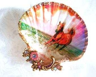 Horse On The Beach Large Shell Jewelry Dish