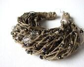 Grey glamour - linen bracelet