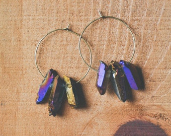rainbow quartz earrings.
