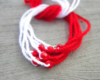 Martenitza Set of 7 Bracelets. Colored Wood Beads Martenitsa. Fiber Art Red White Jewerlry. Blue Green Violet Pink Orange Beaded Martenici