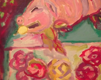 "ORIGINAL OIL PAINTING, "" Suckling Piggy"", Art, home decor"
