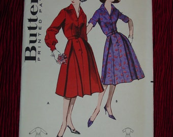Vintage Pattern c.1960's Butterick No.9037 Shirt Dress, Size 14 1/2, Bust 35 Uncut