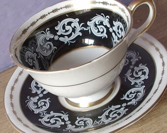Vintage 1950's Mid Century Modern tea cup and saucer, Aynsley black tea cup, English tea cup, antique black and white bone china tea cup