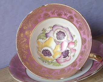Antique Stanley artist signed tea cup and saucer, Pink tea cup, English teacup, pink and gold bone china tea cup, hand painted tea cup
