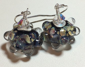 Handmade Lampwork Jewelry Glass Beaded Earrings - Black Waters