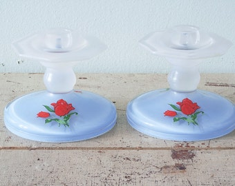 Adorable 1930's Pair of Hand Painted Candle Holders Blue with Red Roses
