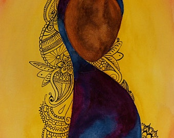Custom Cultural/Ethnic Female Figure Watercolor Paintings with Henna (11x14 inch)