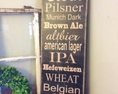 Subway style sign - types of BEER - handcrafted wood rustic distressed look - 12x36 - pick your own beers