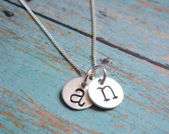 Initial Necklace Hand Stamped Mom Neckace Sterling Silver Two Tiny Discs Monogram Necklace
