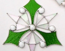 Peace On Earth-Sun Catcher, snowflake, St. Patrick's day decor, in iridescent clear, and moss green stained glass