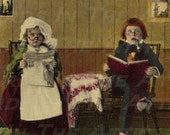 Silly Children Dressed Like Adults Reading Paper Old Fashioned 300 DPI - Digital Art - Scrapbooking, Card Making & Crafts - INSTANT DOWNLOAD