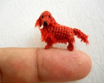 Miniature Red Setter  - Tiny Amigurumi Crochet Dog Stuffed Animal - Made To Order