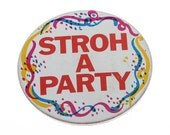 1980s Stroh a Party Button Metal Rainbow Confetti Vintage Pin Drinking Beer Guy Gift Present Stroh's Breweriana Political Button Brooch 14J