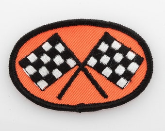 Vintage Orange Patch | Checkered Black & White Racing Flags Cars Automotive Unused Sew On Applique for Jacket Jeans Hat Shorts Backpack NOS