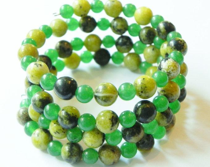 Jasper and green aventurine wrap/cuff gemstone bracelet adjustable, memory wire, shades of green, adjustable