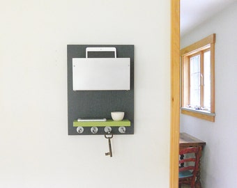 PARKWAY: modern home entry decor organizer mail device organization wall mount storage unit in gray and chartreuse with shelf and key hooks
